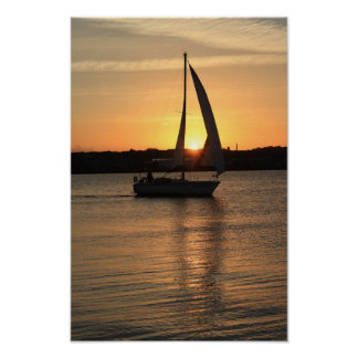 Sailing in Cardiff Bay at Sunset. Poster