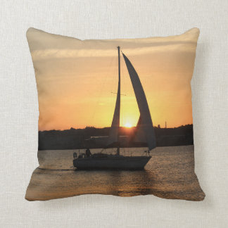 Sailing in Cardiff Bay at Sunset. Throw Pillow