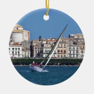 Sailing in the bay at Siracusa. Ceramic Ornament
