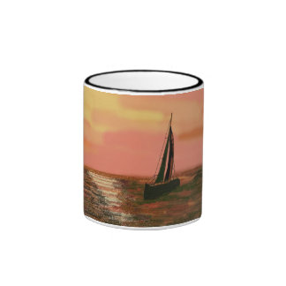 Sailing in the Orange Sky Ringer Coffee Mug
