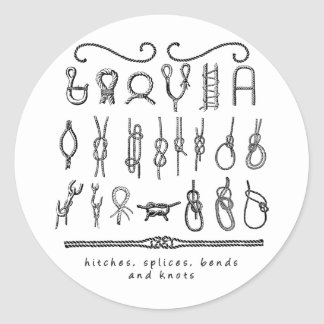 sailing knots classic round sticker