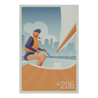 Sailing Lake Union, Seattle Poster
