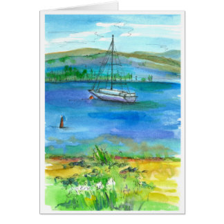 Sailing Mountain Lake Watercolor Happy Birthday Card