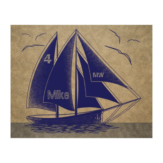 Sailing navy blue nautical rustic wood wall decor