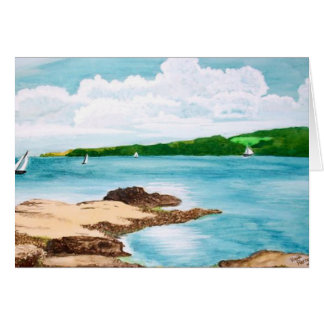 Sailing On The Helford River Painting Card