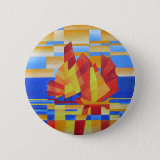 Sailing on the Seven Seas so Blue Cubist Abstract 2 Inch Round Button