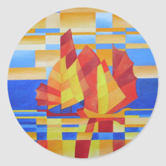 Sailing on the Seven Seas so Blue Cubist Abstract Classic Round Sticker