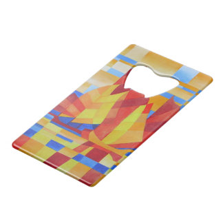 Sailing on the Seven Seas so Blue Cubist Abstract Credit Card Bottle Opener
