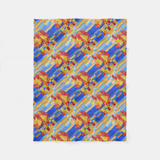 Sailing on the Seven Seas so Blue Cubist Abstract Fleece Blanket