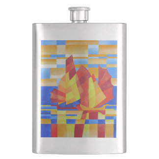 Sailing on the Seven Seas so Blue Cubist Abstract Hip Flask