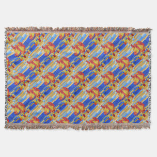 Sailing on the Seven Seas so Blue Cubist Abstract Throw Blanket