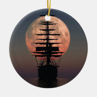Sailing Pirate Moon Ceramic Ornament