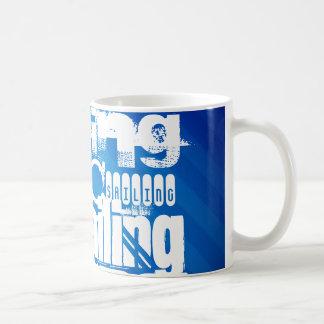 Sailing; Royal Blue Stripes Coffee Mugs