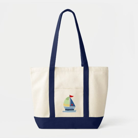 SAILING SAIL BOAT Tote Bag - add a NAME!
