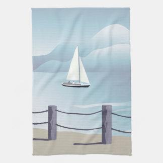 Sailing Sailboat Aqua Ocean Kitchen Towel