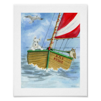 Sailing, Sailing Scottie Poster