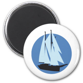 sailing ship 2 inch round magnet