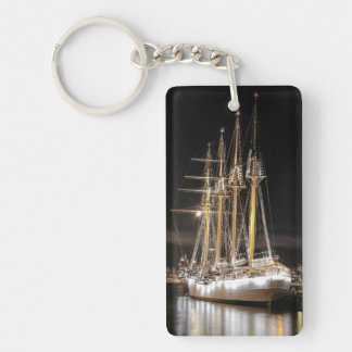Sailing ship at  the pier Single-Sided rectangular acrylic keychain