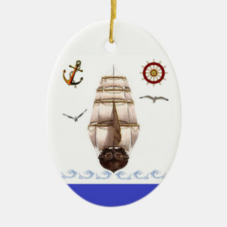 Sailing Ship Ceramic Ornament