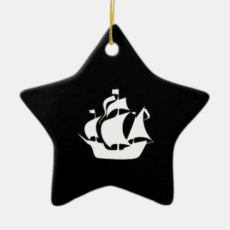 Sailing Ship Ceramic Star Ornament