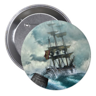 Sailing Ship in Storm Illustration 3 Inch Round Button