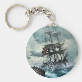 Sailing Ship in Storm Illustration Basic Round Button Keychain