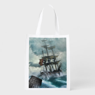 Sailing Ship in Storm Illustration Grocery Bags
