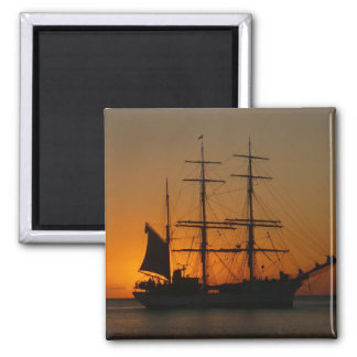 Sailing ship in the sea ,sunset square magnet