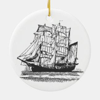 Sailing Ship Line Drawing Sailboat Windjammer Ceramic Ornament