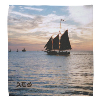 Sailing Ship on Calm Sea at Sunset Seascape Design Bandana