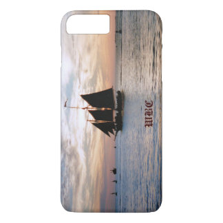 Sailing Ship on Calm Sea at Sunset Seascape Design iPhone 7 Plus Case