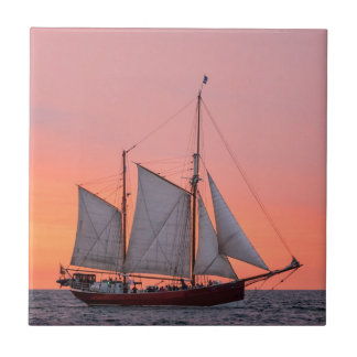 Sailing ship on the Hanse Sail in Rostock Tile