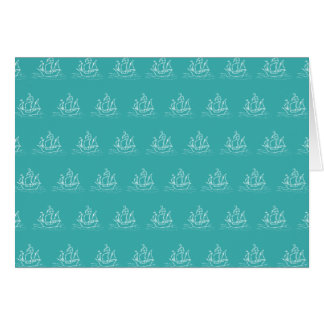 Sailing Ship Pattern, Teal Color. Card