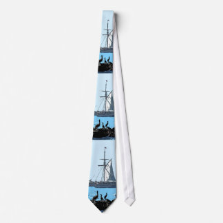 Sailing Ship & Seabirds Tie