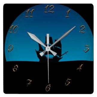 Sailing ship square wall clock