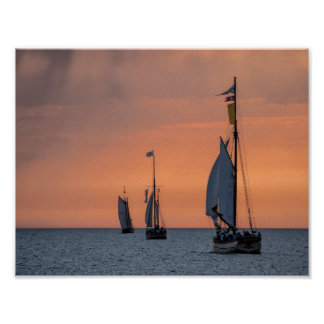 Sailing ships in sunset light on the Baltic Sea Poster