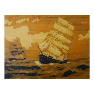 Sailing ships in the storm poster