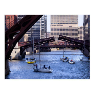 Sailing the Chicago River Post Card
