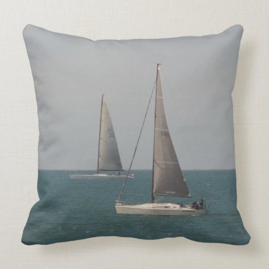 Sailing the Ocean Blue Throw Pillow