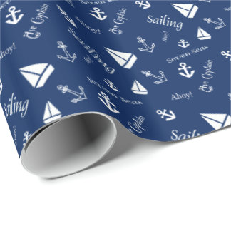 Sailing Themed Gift Wrap Wrapping Paper Nautical