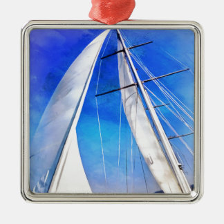 Sailing Unties The Knots Of My Mind pill Silver-Colored Square Ornament