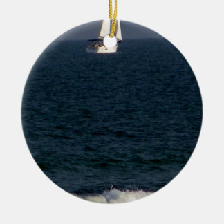 sailing with friends.JPG Round Ceramic Ornament