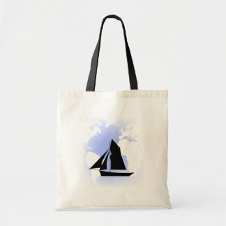 Sailing World Sail Boat Canvas Tote Bag