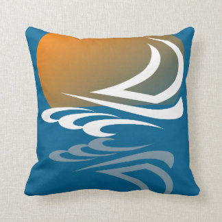 Sailing Yacht in the Sun Throw Pillow