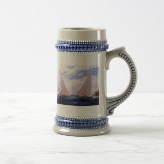 Sailing yachts and a three-master 18 oz beer stein