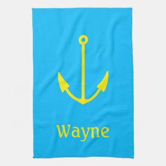 Sailor Anchor Your Name (Wayne) Kitchen Towels