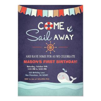 "Sailor Birthday Invation Come Sail Away Nautical 5"" X 7"" Invitation Card"