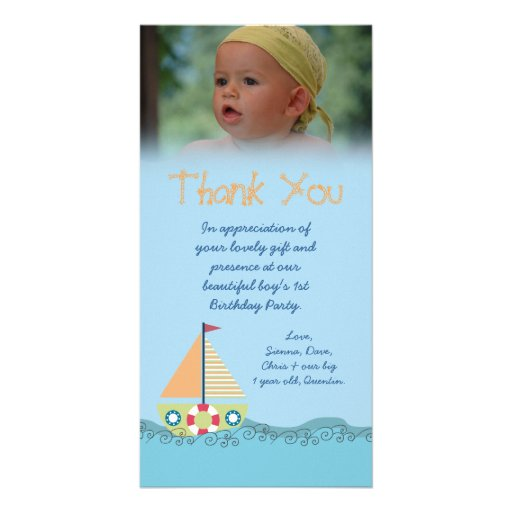 Sailor Boy Thank You for the Gift Photocard Customized Photo Card