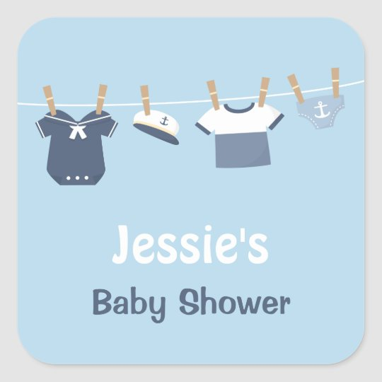 Sailor Clothes Nautical Baby Shower Square Sticker
