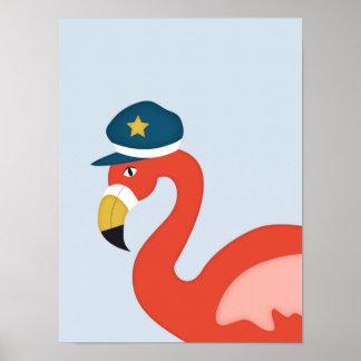Sailor Flamingo   Nautical Nursery Art Poster